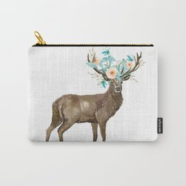 Boho Chic Deer With Flower Crown Carry-All Pouch