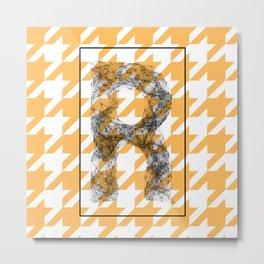 R - network typography on pied de poule Metal Print