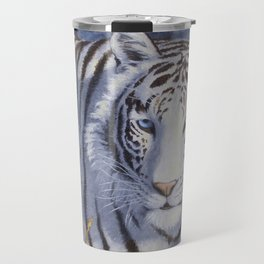 White Tiger with Blue Eyes Travel Mug