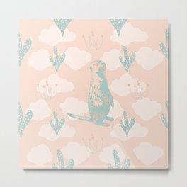 Pale Green Meerkats, Cactuses, Clouds on Orange Metal Print