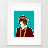 zuko Framed Art Prints featuring FlowerCrown Zuko by Sakizm
