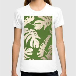 Palm Leaves White Gold Sands on Jungle Green T-shirt
