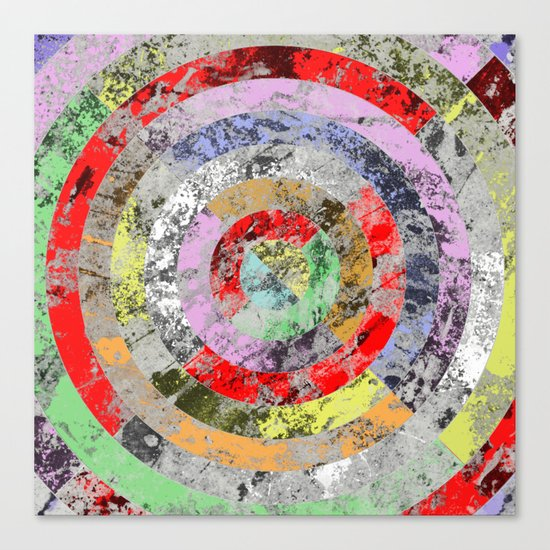 Textured Bullseye - Abstract, marble, pastel colours Canvas Print