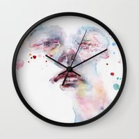 peony Wall Clocks featuring peony by agnes-cecile