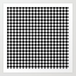 Gingham Black and White Pattern Art Print
