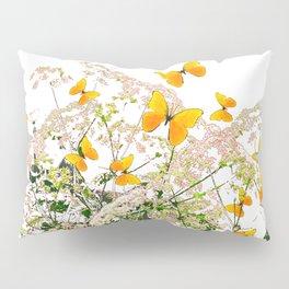 WHITE ART GARDEN ART OF YELLOW BUTTERFLIES Pillow Sham