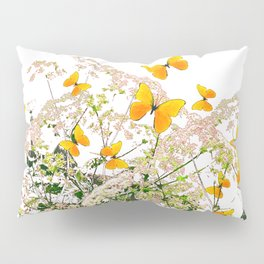 WHITE ART GARDEN ART OF YELLOW BUTTERFLIES Pillow Sham