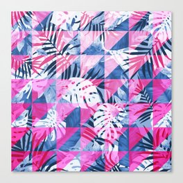 Abstract Hot Pink Geometric Tropical Design Canvas Print