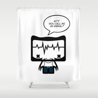 animal crew Shower Curtains featuring ANIMAL by the curious brain