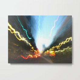 Abstract Downtown Flow - Light Painting Metal Print