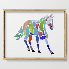 Colorful Mosaic Horse Serving Tray