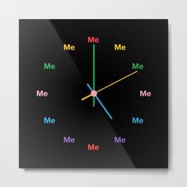 Me Time - Black & Rainbow Metal Print