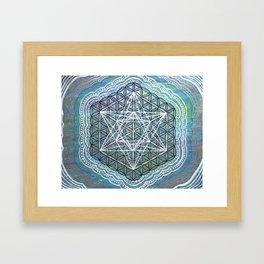 Celestial Sky Metatron's Cube Flower of Life Mandala  Framed Art Print