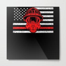 American Fireman Firefighting Motif Metal Print