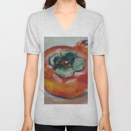 Food, fruit, persimmon, sweet, taste Unisex V-Neck