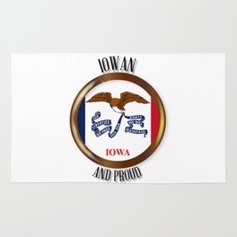 Iowa Proud Flag Button Rug