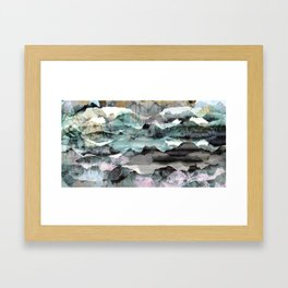 Painted abstract mountain landscape Framed Art Print