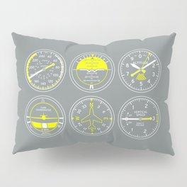 Aircraft Flight Instruments - Grey Pillow Sham
