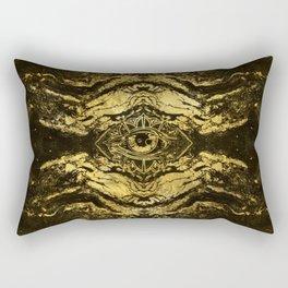 All Seeing eye golden texture on aged wood Rectangular Pillow