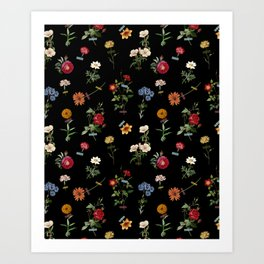 Vertical Garden (Black) Art Print