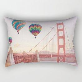 Golden Gate Bridge and Hot Air Balloons Rectangular Pillow