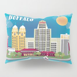 Buffalo, New York - Skyline Illustration by Loose Petals Pillow Sham