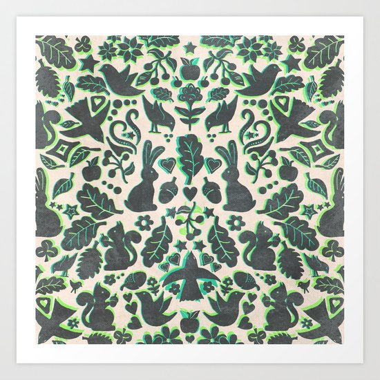Two Rabbits - folk art pattern in grey, lime green & mint Art Print