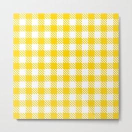 Plaid Pattern 512 Yellow Metal Print