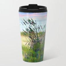 Plaid Beachscape with Seagrass Metal Travel Mug