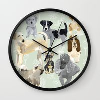 dogs Wall Clocks featuring Dogs by Augustwren