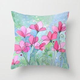 Celestial Strawberry Fluff Throw Pillow