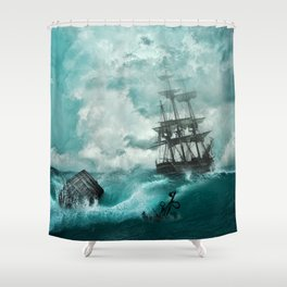 Spectacular Medieval Frigate Sail Ship Stormy Ocean Waves Ultra HD Shower Curtain