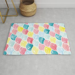 Mermaid Scales | Pink, Blue and Yellow Rug