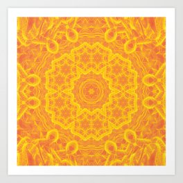 vibrant golden yellow mandala Art Print
