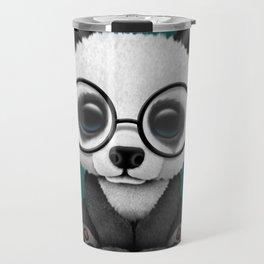 Cute Panda Bear Cub with Eye Glasses on Teal Blue Travel Mug