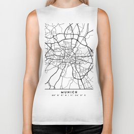 MUNICH GERMANY BLACK CITY STREET MAP ART Biker Tank