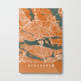 Stockholm Sweden Map   Coffee & Green   More Colors, Review My Collections Metal Print