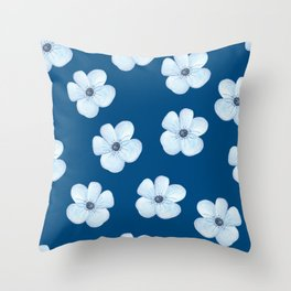 Blue Watercolor Flower Pattern Throw Pillow