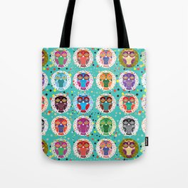 funny colored owls on a turquoise background Tote Bag
