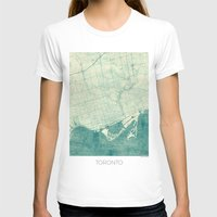 toronto T-shirts featuring Toronto Map Blue Vintage by City Art Posters