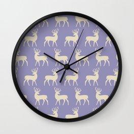 Mid Century Modern Deer Pattern Lavender and Tan Wall Clock