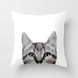 Cat, American Short hair, illustration original painting print Throw Pillow
