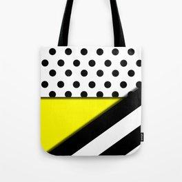 Black & White Polka Dots & Stripes With Yellow Tote Bag