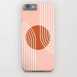 Geometric Lines in Rose Gold and Terracotta (Rainbow Moon Abstract) iPhone Case