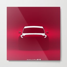 Society6 Online Car Prints - Electric Vibes Cool Sketch Kid's Art Decorations Red Metal Print