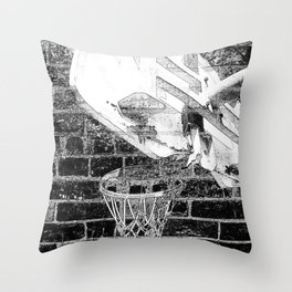 Black and white basketball artwork Throw Pillow