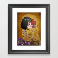 Kokeshis Lesbians The kiss of Klimt Framed Art Print