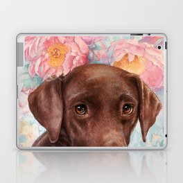 Flowers and Chocolate (chocolate lab dog watercolor portrait painting) Laptop & iPad Skin