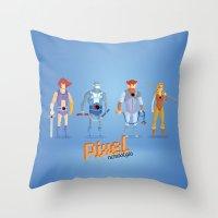 thundercats Throw Pillows featuring Thundercats - Pixel Nostalgia  by Boo! Studio