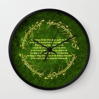lord of the rings Wall Clocks featuring THE LORD OF THE RINGS by Bilqis
